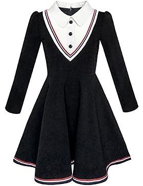 Sunny Fashion Vestido para niña Colegio Uniforme Blanco Collar Largo Manga Rayado 4-12 años