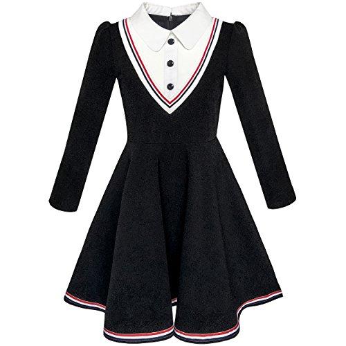 Sunboree Mädchen Kleid Schule Uniform Weiß Kragen Lange Ärmel Gestreift Gr. 134 (Schule Für Mädchen Kleider)