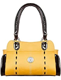 LB- Hand Bag For Women And Girls Durable Spacious Designer Handbags With Multi Compartments Yellow,LB-025