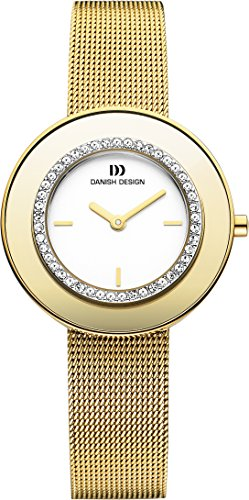 Danish Design women's quartz Watch with white Dial analogue Display and gold Stainless steel gold plated Strap DZ120184