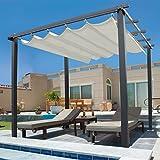 IDMarket - Pergola toit rétractable beige 3x4m tonnelle 4 pieds