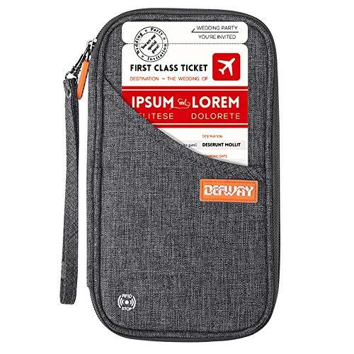 Ausweistasche Reisepass Tasche RFID Passport Holder für Damen Herren mit Griff Reisebrieftasche Travel Wallet Organizer für Reisepass Kreditkarte Flugticket Stift(Grau) (Wallet 9 Karten-halter)