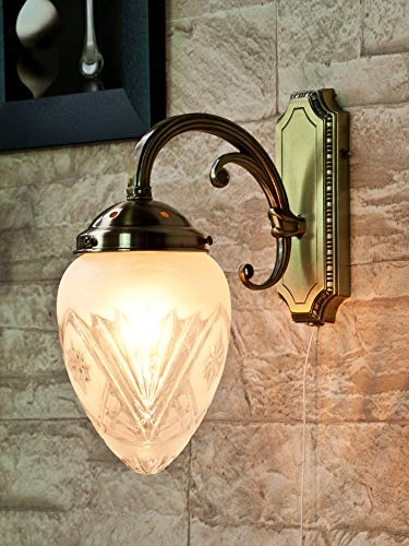 Verzierte Wandlampe mit Zugschalter Glas Schirm Jugendstil in Bronze Wandleuchte Wohnzimmer Bett Flur -