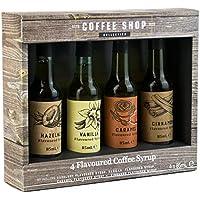 Juego de 4 jarabes de café saborizados en caja de regalo, avellana, vainilla, caramelo y canela - 4 x 85 ml