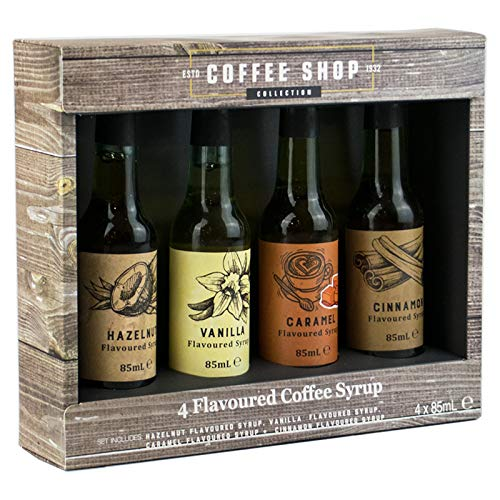 4er-Set aromatisierter Kaffeesirup im Geschenkkarton, Haselnuss, Vanille, Karamell und Zimt - 4 x 85...