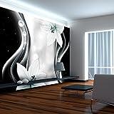 murando - Fototapete Blumen Lilien 350x256 cm - Vlies Tapete - Moderne Wanddeko - Design Tapete - Wandtapete - Wand Dekoration - Blume schwarz weiß grau bokeh Ornament Abstrakt b-A-0246-a-c
