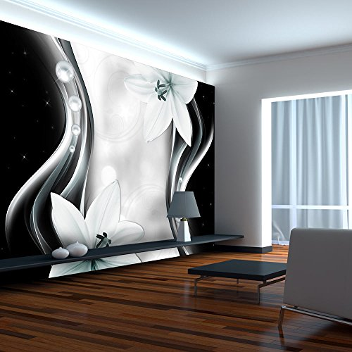 murando - Fototapete Blumen Lilien 300x210 cm - Vlies Tapete - Moderne Wanddeko - Design Tapete - Wandtapete - Wand Dekoration - Blume schwarz weiß grau bokeh Ornament Abstrakt b-A-0246-a-c