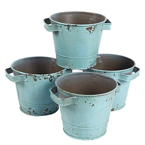 Pflanzkübel/Eimer mit Griffen, verzinktes Metall, ideal zum Bepflanzen, Dekoration, Aufbewahren, Grün, 13,3 x 9,5 cm, 4er-Set (Verzinkte Pflanzkübel)