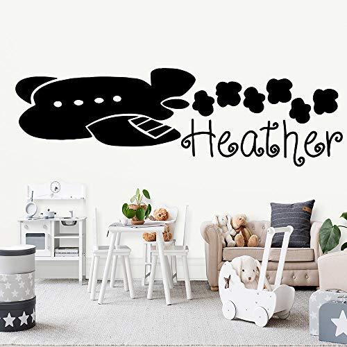 HNXDP Flugzeug Heather Wandkunst Aufkleber Wandaufkleber Pvc Material Für Wohnzimmer Kinderzimmer Wandaufkleber Wasserdichte Tapete Grün XL 90 cm X 27 cm