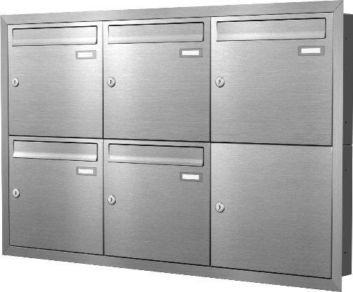 Max Knobloch Unterputz-Briefkastenanlage Express Box UP50-110-E Edelstahl (5 x 12 Liter)