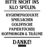 CLICKANDPRINT Aufkleber » Bitte nicht ins Klo spülen:, 20x18,6cm, Schwarz • Wandtattoo / Wandaufkleber / Wandsticker / Wanddeko / Vinyl