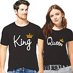 Hangout Hub Couple Tshirts King Queen with Golden Crown Printed Black Color Men-XL,Women-L