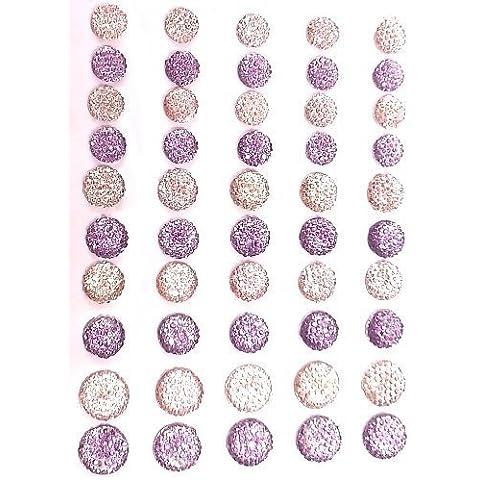 50 Gemme Rotonde Autoadesive con Cristalli Strass Rosa/Lilla
