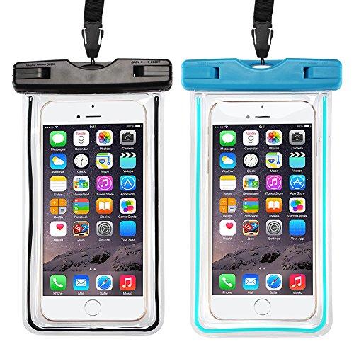 Wasserdichte Hülle, 2 Stück Kcdream Wasserdichte Tasche Telefon-Etui Beutel Leuchtet im Dunkeln Unterwasser Fotografie für iPhone X/8/8 Plus/7/7 Plus/6/6s Plus/5 5S 5C SE, Samsung Galaxy S9/S9 Plus/S8/S8 Plus S7, Xiaomi,Huawei, 6 Zoll