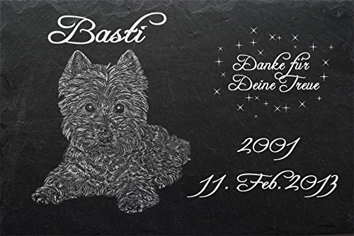 """Schiefertafel mit wetterfester Lasergravur des Motives """"Hund-028"""" West Highland Terrier Westi (mit dem Musterbild oder Ihrem eigenen Foto - siehe Auswahl) und Ihrem Text/Daten in der gewünschten Schriftart z.B. als Grabstein auf das Grab oder als Gedenkstein für Zuhause von LaserArt24"""