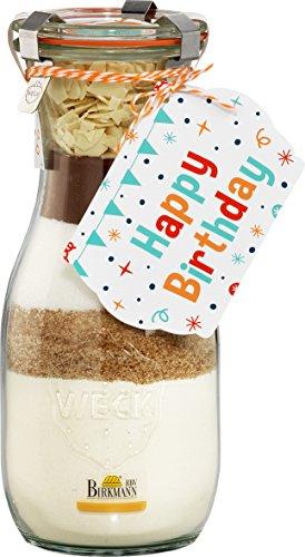 Birkmann Backmischung im Glas - Happy Birthday Edition (Schokoladenkuchen / 410 g) (Zucker Brauner Glas)