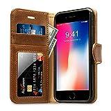Labato Hülle für iPhone 8 iPhone 7, Portemonnaie-Stil Leder Hülle für Apple iPhone 7/8 Handytasche mit Kartenfächer Braun, Lbt-IP8-05Z20