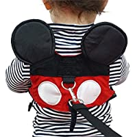 Yimidear Cute Walking Safety Harness for Kids Toddler Anti-Lost Belt with Safety Leash Mini Strap for Boys and Girls (Red)