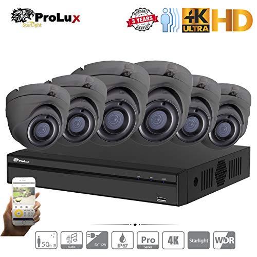 ProluX Überwachungskamera, 5 MP, 4 K Auflösung, 4 Kanäle, 8 Kanäle, 16 Kanäle, DVR, NVR (6TB) Festplatte mit 6 LTS Outdoor 5 Megapixel 50 M IR Nachtsicht Überwachung Unterstützung 12/24 IP 8 MP - Lorex-security-kamera