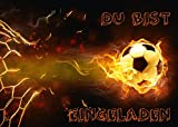 12-er Set Fussball-Einladungskarten (Nr. 10717) zum Kindergeburtstag oder zur Fußball-Party von EDITION COLIBRI  - umweltfreundlich, da klimaneutral gedruckt