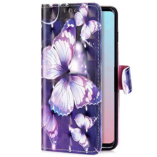 Uposao Kompatibel mit Samsung Galaxy A50 Handyhülle Handytasche Luxus Glitzer Bling Glänzend Bunt Muster Schutzhülle Flip Case Brieftasche Klapphülle Leder Hülle Cover,Weiß Schmetterling - Flip-maniküre-set