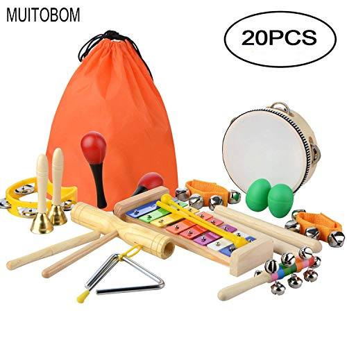 MUITOBOM 20 Pcs Toddler & Baby Musical Instruments Set � Percussion Toy Fun Toddlers Toys Wooden Xylophone Glockenspiel Toy Rhythm Band Set, Percussion Set for Kids of All Ages