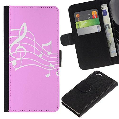 Graphic4You Musik Noten Muster Design Brieftasche Leder Hülle Case Schutzhülle für Apple iPhone 6 / 6S (Schwarz) Rosa