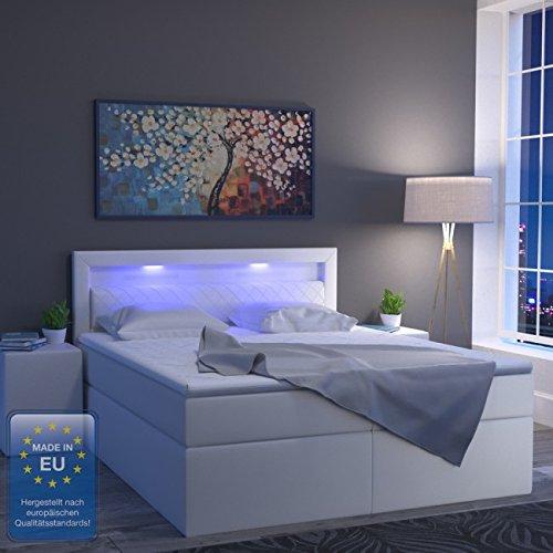 animalmarketonline Boxspringbett LED Bett weiß 180x 200Savona