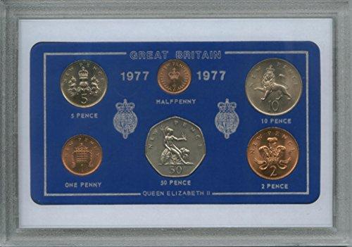 1977 Vintage GB Great Britain British Coin Birth Year Retro Gift Set (41st Birthday Present or Ruby Wedding Anniversary) -