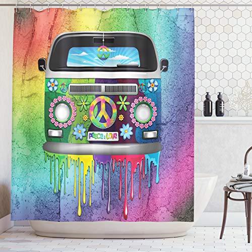 ABAKUHAUS Sensationnel Rideau de Douche, Hippie Van Gouttes de Peinture Arc-en-Ciel Révolution de Jeune Années 60'S, Tissu Artificiel serti de 12 Crochets imprimés, 175 x 200 cm, Multicolor