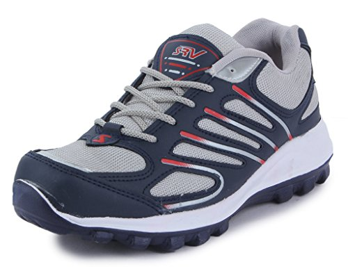 SRV Men's MetaRun11 Grey/Navy Blue Sports Running Shoe-8 IND/UK