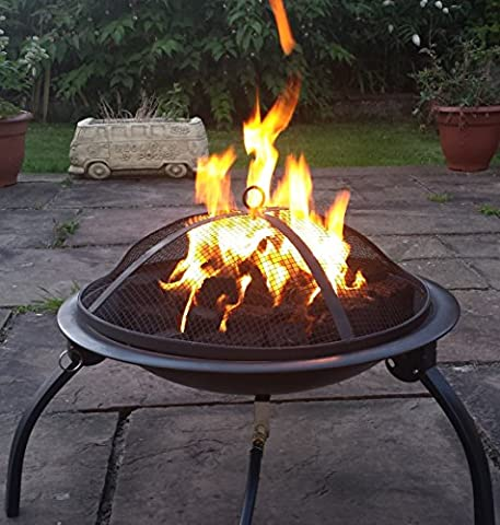 Saturn Bowl GAS Fire Pit, Real flame LPG Patio Heater, Patio / Camping Gas Clip On Propane Regulator (Green, Coal)