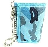 The Leather Emporium - Geldbörse Damen Herren Jungen Tarnmuster Leinen Kreditkartenhalter Mit Kette - nicht angegeben, Blau/Marineblau