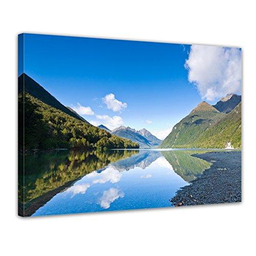 bilderdepot24-toile-deco-imprimee-tableau-toile-lac-gunn-nouvelle-zelande-70x50-cm-tableau-sur-toile