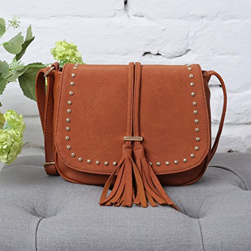 Borsa donne , feiXIANG Fashion Bag scrub pacchetto Messenger borse rivetto spalla Borsa Flap donna,pu (Caffè) Arancione