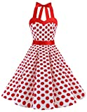 Dresstells Halter 50s Rockabilly Polka Dots Dots Dress Petticoat Pleated Skirt White Red Dot S