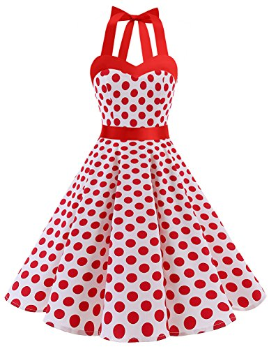 Dresstells Neckholder Rockabilly 1950er Polka Dots Punkte Vintage Retro Cocktailkleid Petticoat Faltenrock White Red Dot S (Mit Cocktail-kleid Zug)