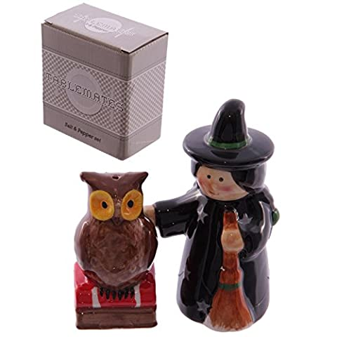Lisa Parker Witch and Owl Salt and Pepper Set