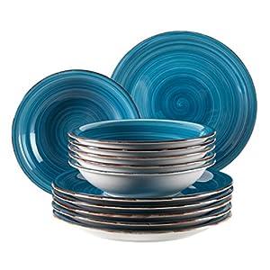 Mäser, Serie Bel Tempo, Teller-Set aus Steingut, 12-teilig für 6 Personen, Tafelservice Vintage, handbemalt, dunkelblau