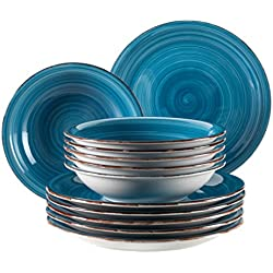Mäser Domestic by, Serie Bel Tempo, Moldeada cerámica Vajilla 12Piezas, para 6Personas, en el Color Azul Oscuro