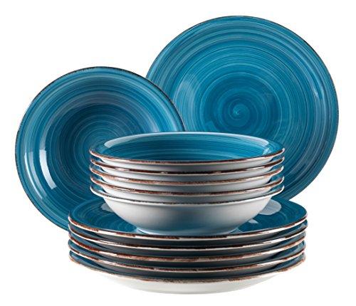 farbige teller Mäser, Serie Bel Tempo, Teller-Set aus Steingut, 12-teilig für 6 Personen, Tafelservice Vintage, handbemalt, dunkelblau