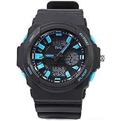 Leopard Shop TVG KM - 391 Sport Wristwatch Multifunctional Male Dual Movt Watch Calendar LED Display 3ATM Blue