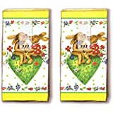 Mouchoirs 20 (2 x 10)-happy rabbits écriture/lièvres/pâques/motivtaschentücher lapin de pâques