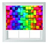 Arcobaleno avvolgibile blocchi 3d stile varie misure nero Out avvolgibili per camere da letto, bagni e cucine Camper AOA®, rainbow blocks 3ft/91cm