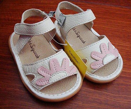 Ohmais Enfants Chaussure premier pas bébé sandale en cuir souple Blanc