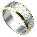 KONOV Schmuck Herren-Ring, Damen-Ring, Edelstahl, Kreuz Bibel Gebet, Gold Silber - Gr. 68