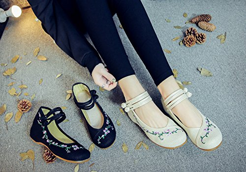 Fanwer Canvas Women Rattan Flower Embroidery Knotting Casual Flats Suola Morbida Mary Janes Shoes Nero