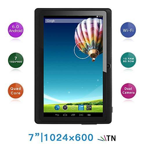 Haehne 7 Pollici Tablet PC, Google Android 6.0 Quad Core, 1GB RAM 8GB ROM, Doppia Fotocamera 2.0MP+0.3MP, 1024x600 HD Schermo, WiFi, Bluetooth, Nero