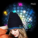 Coogel Wireless Bluetooth Beanie Hat Cap with Built In Speakers Stereo Headphones Earphones Headset for Winter Outdoor Sports Christmas (A)