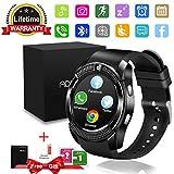 Smartwatch, Impermeable Reloj inteligente Redondo con Sim Tarjeta Camara Whatsapp, Bluetooth Tactil...